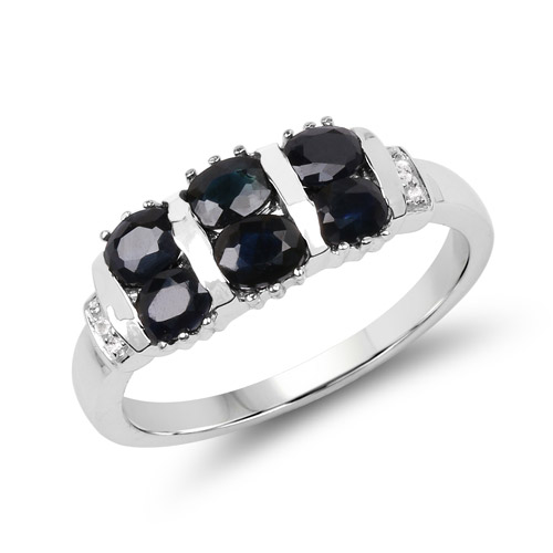 Sapphire-1.33 Carat Genuine Black Sapphire and White Topaz .925 Sterling Silver Ring