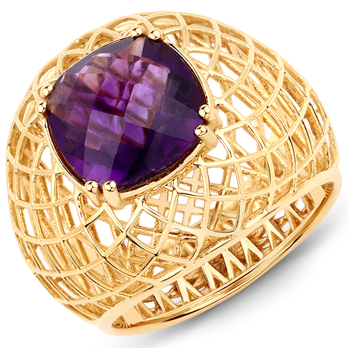 Amethyst-3.15 Carat Genuine Amethyst 14K Yellow Gold Ring