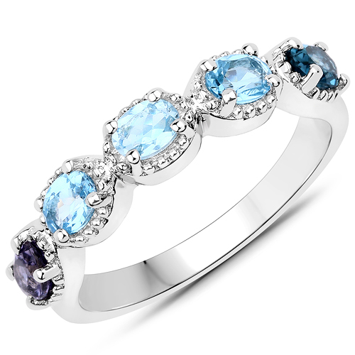Sapphire-1.00 Carat Genuine Multi Stones .925 Sterling Silver Ring