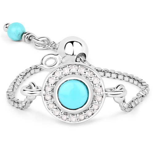 Rings-0.44 Carat Genuine Turquoise and White Diamond .925 Sterling Silver Ring