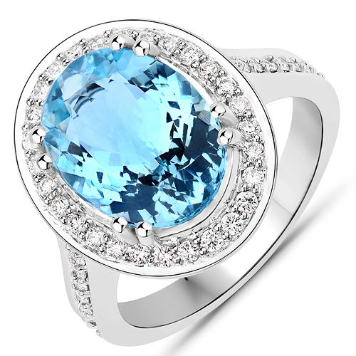Rings-4.24 Carat Genuine Aquamarine and White Diamond 14K White Gold Ring