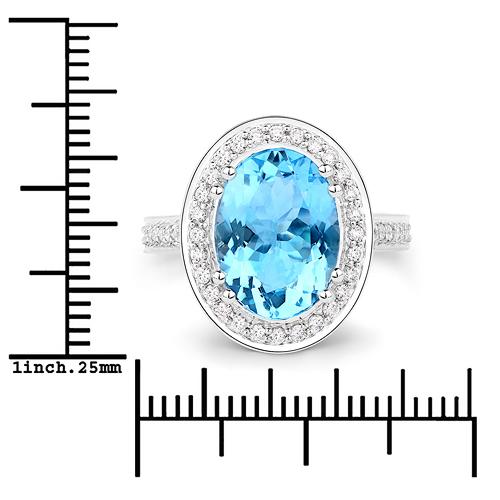 4.24 Carat Genuine Aquamarine and White Diamond 14K White Gold Ring