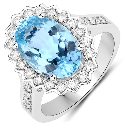 Rings-4.94 Carat Genuine Aquamarine and White Diamond 14K White Gold Ring