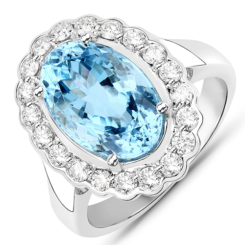 Rings-5.25 Carat Genuine Aquamarine and White Diamond 14K White Gold Pendant