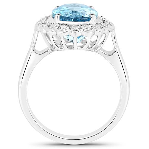 5.25 Carat Genuine Aquamarine and White Diamond 14K White Gold Pendant