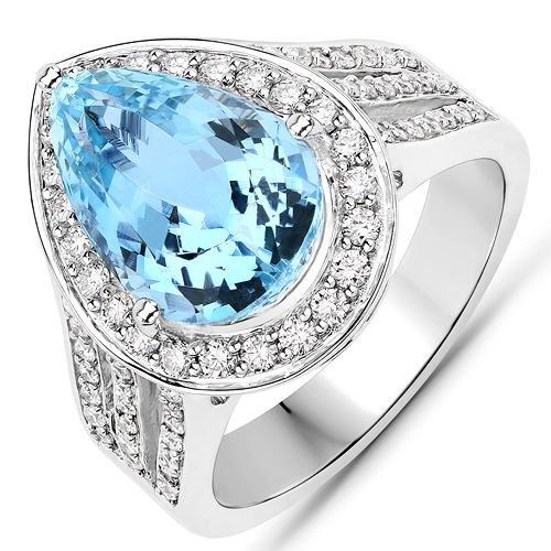 Rings-5.84 Carat Genuine Aquamarine and White Diamond 14K White Gold Ring