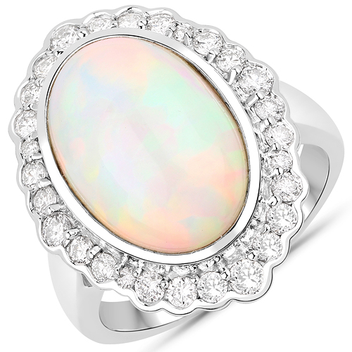 Opal-6.38 Carat Genuine Ethiopian Opal and White Diamond 14K White Gold Ring