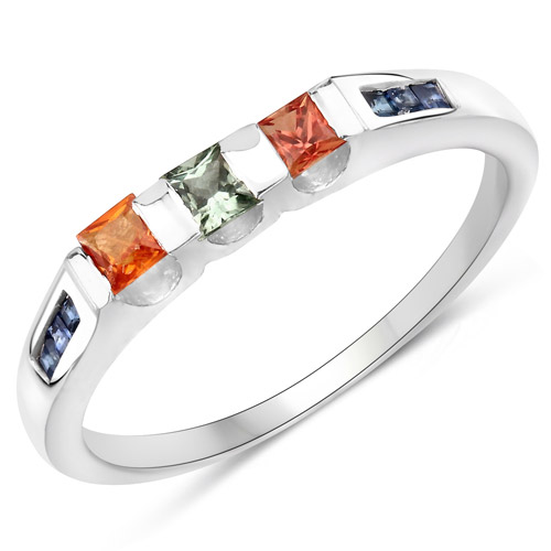 Sapphire-0.68 Carat Genuine Multi Sapphire .925 Sterling Silver Ring