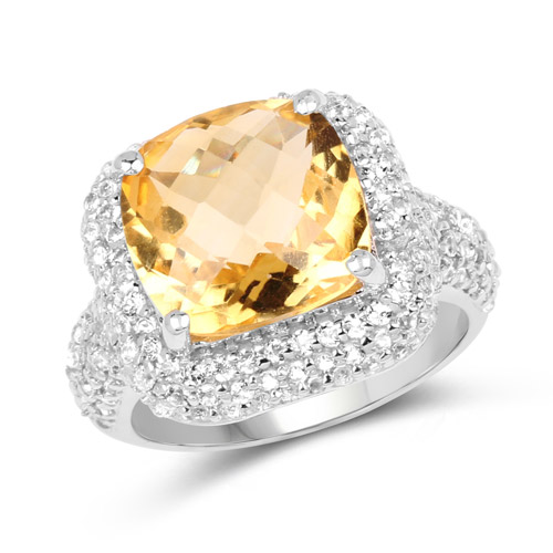 Citrine-7.95 Carat Genuine Citrine and White Topaz .925 Sterling Silver Ring
