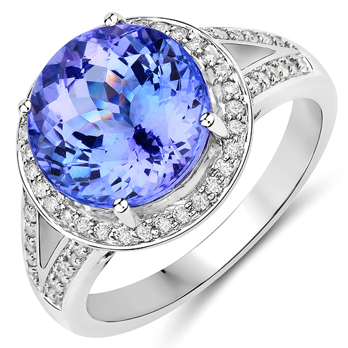 Tanzanite-5.61 Carat Genuine Tanzanite and White Diamond 14K White Gold Ring