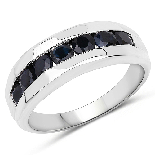 Sapphire-0.96 Carat Genuine Blue Sapphire .925 Sterling Silver Ring