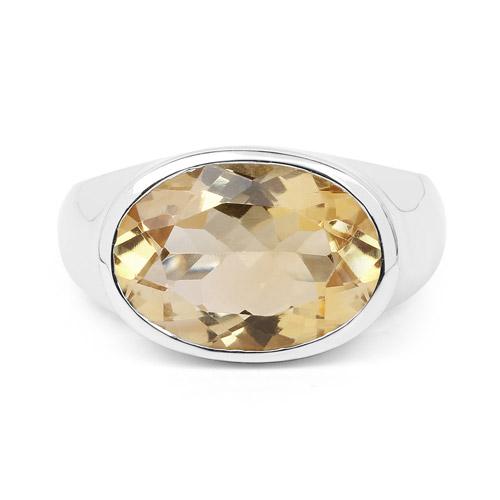 4.25 Carat Genuine Citrine .925 Sterling Silver Ring