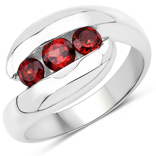Garnet-0.76 Carat Genuine Garnet .925 Sterling Silver Ring