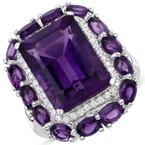 Amethyst-9.52 Carat Genuine Amethyst and White Zircon .925 Sterling Silver Ring