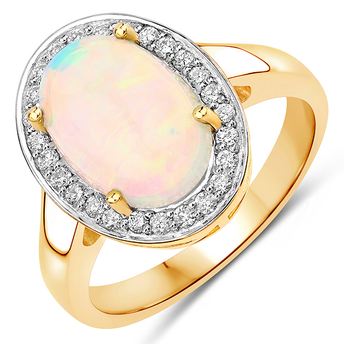 Opal-2.44 Carat Genuine Ethiopian Opal and White Diamond 14K Yellow Gold Ring