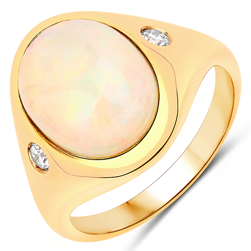 Opal-3.03 Carat Genuine Ethiopian Opal and White Diamond 14K Yellow Gold Ring