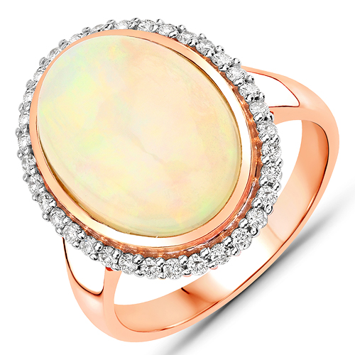 Opal-5.08 Carat Genuine Ethiopian Opal and White Diamond 14K Rose Gold Ring