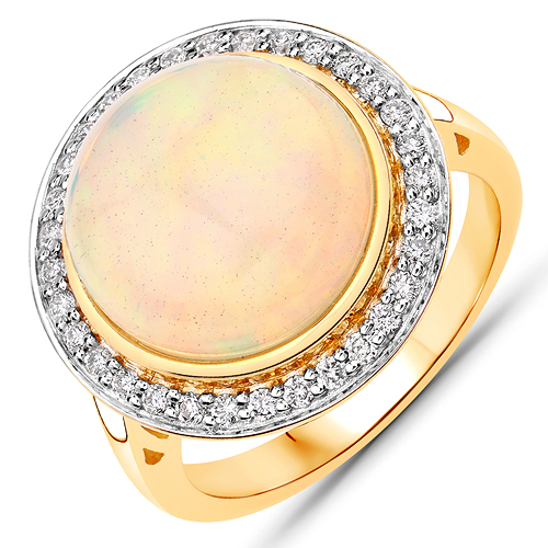 Opal-7.16 Carat Genuine Ethiopian Opal and White Diamond 14K Yellow Gold Ring