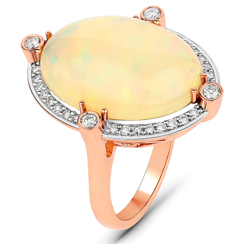 8.68 Carat Genuine Ethiopian Opal and White Diamond 14K Rose Gold Ring