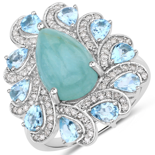 Rings-5.31 Carat Genuine Aquamarine and White Diamond .925 Sterling Silver Ring