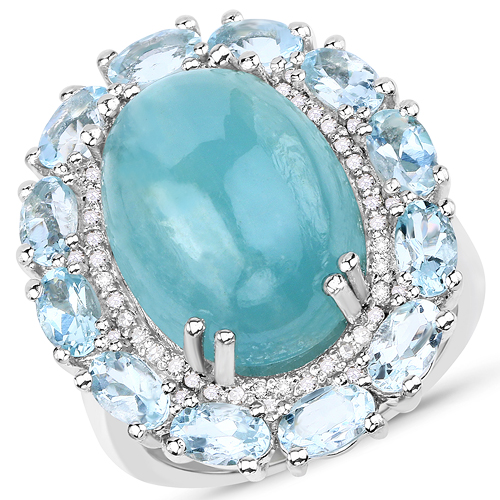 Rings-14.44 Carat Genuine Aquamarine and White Diamond .925 Sterling Silver Ring