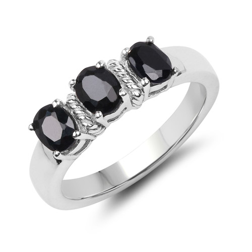 Sapphire-1.50 Carat Genuine Black Sapphire .925 Sterling Silver Ring