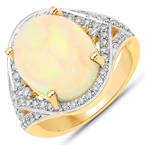 Opal-6.10 Carat Genuine Ethiopian Opal and White Diamond 14K Yellow Gold Ring