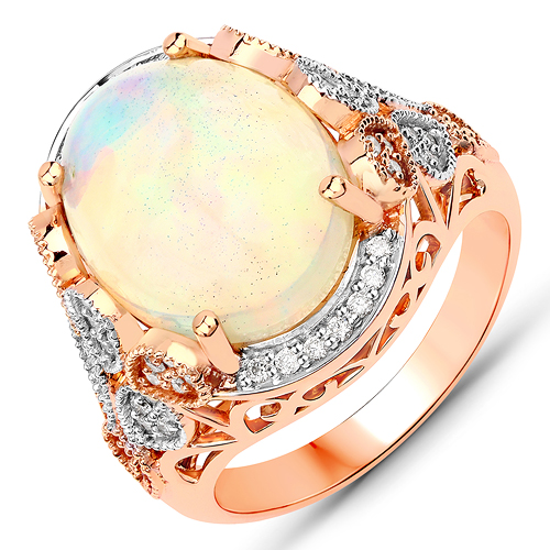 Opal-4.98 Carat Genuine Ethiopian Opal and White Diamond 14K Rose Gold Ring