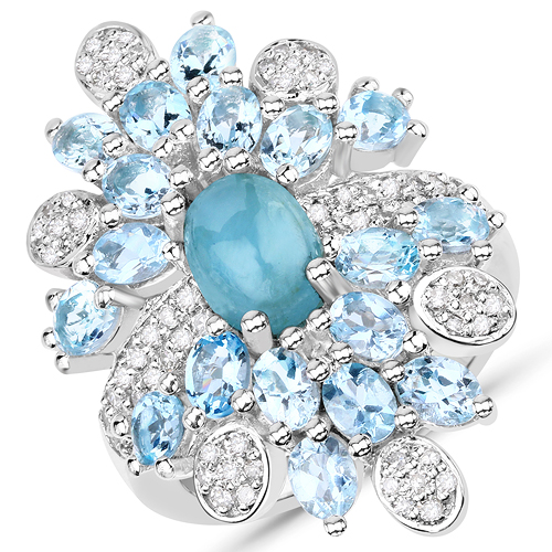 Rings-4.68 Carat Genuine Aquamarine and White Diamond .925 Sterling Silver Ring
