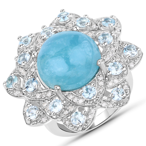 Rings-11.83 Carat Genuine Aquamarine and White Diamond .925 Sterling Silver Ring