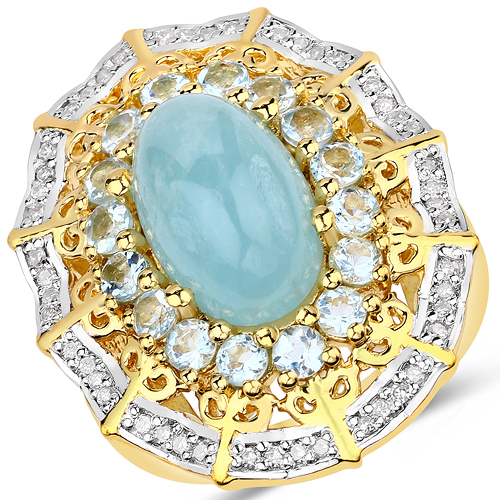 Rings-5.54 Carat Genuine Aquamarine and White Diamond .925 Sterling Silver Ring