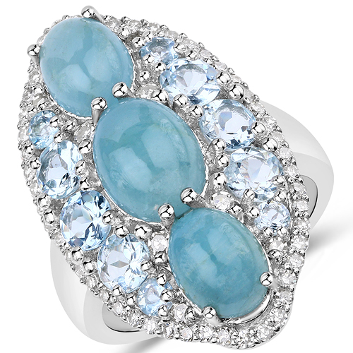 Rings-7.19 Carat Genuine Aquamarine and White Diamond .925 Sterling Silver Ring
