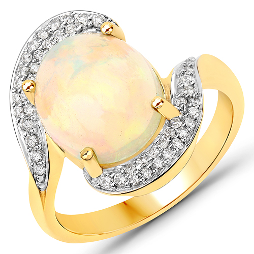 Opal-3.15 Carat Genuine Ethiopian Opal and White Diamond 14K Yellow Gold Ring