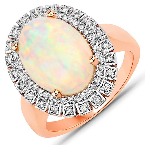Opal-3.57 Carat Genuine Ethiopian Opal and White Diamond 14K Rose Gold Ring