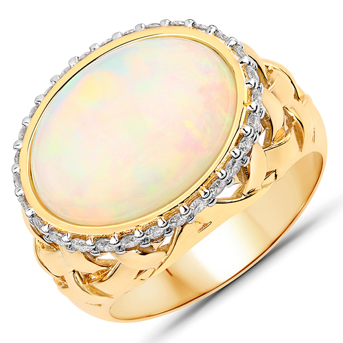 Opal-5.41 Carat Genuine Ethiopian Opal and White Diamond 14K Yellow Gold Ring