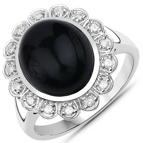 Rings-4.79 Carat Genuine Black Onyx and White Diamond .925 Sterling Silver Ring