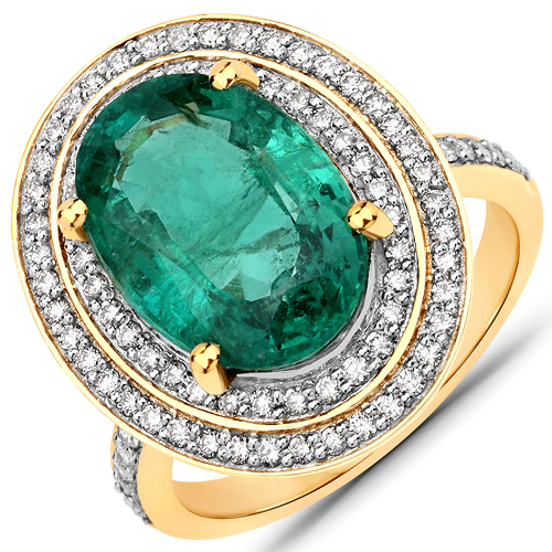Emerald-5.82 Carat Genuine Zambian Emerald and White Diamond 18K Yellow Gold Ring
