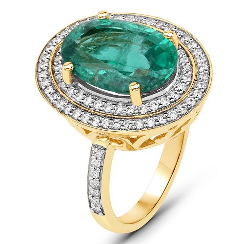 5.82 Carat Genuine Zambian Emerald and White Diamond 18K Yellow Gold Ring
