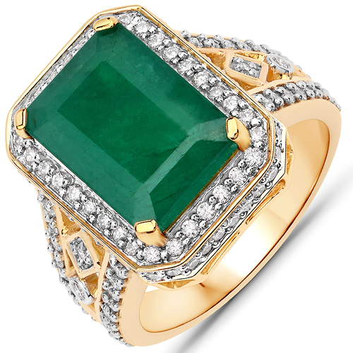 Emerald-5.39 Carat Genuine Brazilian Emerald and White Diamond 14K Yellow Gold Ring