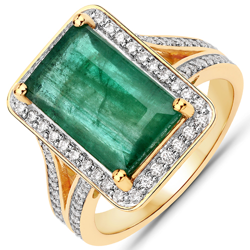 Emerald-4.95 Carat Genuine Brazilian Emerald and White Diamond 14K Yellow Gold Ring