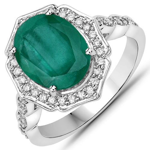 Emerald-4.66 Carat Genuine Brazilian Emerald and White Diamond 14K White Gold Ring