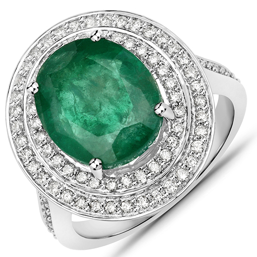 Emerald-6.85 Carat Genuine Brazilian Emerald and White Diamond 14K White Gold Ring