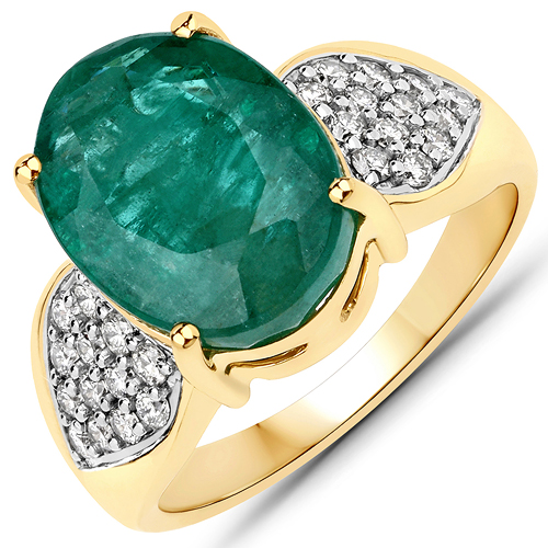 Emerald-7.02 Carat Genuine Brazilian Emerald and White Diamond 14K Yellow Gold Ring