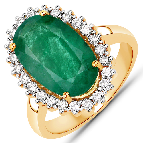 Emerald-6.06 Carat Genuine Brazilian Emerald and White Diamond 14K Yellow Gold Ring