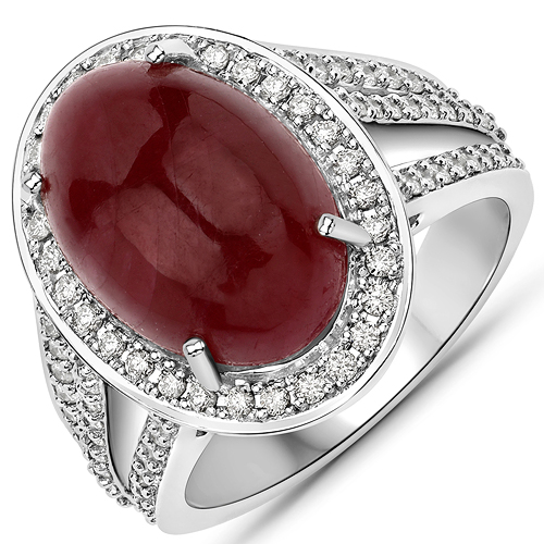 Ruby-11.14 Carat Genuine Ruby and White Diamond 14K White Gold Ring