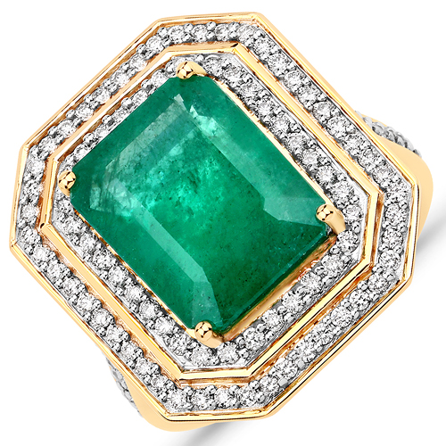 Emerald-7.74 Carat Genuine Brazilian Emerald and White Diamond 18K Yellow Gold Ring