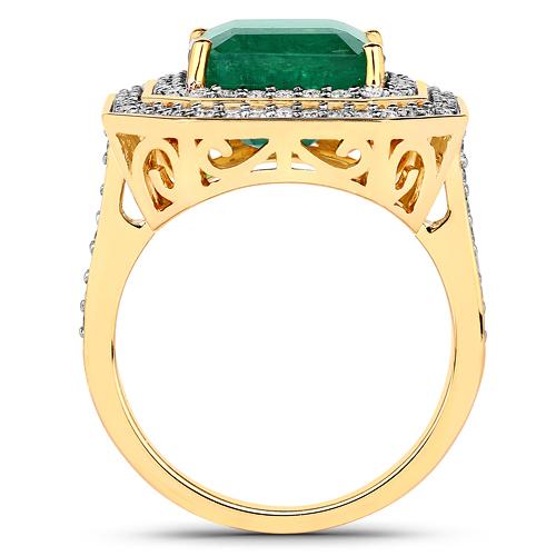 7.74 Carat Genuine Brazilian Emerald and White Diamond 18K Yellow Gold Ring