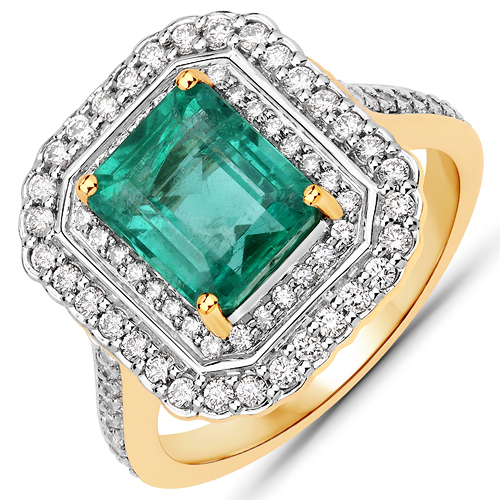 Emerald-3.30 Carat Genuine Zambian Emerald and White Diamond 18K Yellow Gold Ring