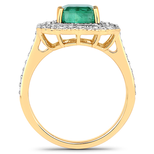 3.30 Carat Genuine Zambian Emerald and White Diamond 18K Yellow Gold Ring