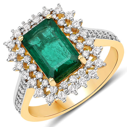 Emerald-2.90 Carat Genuine Zambian Emerald and White Diamond 18K Yellow Gold Ring